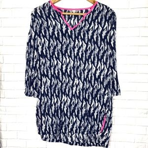 Uniqlo Blue Feather Print Pink Trim Tunic Top XS